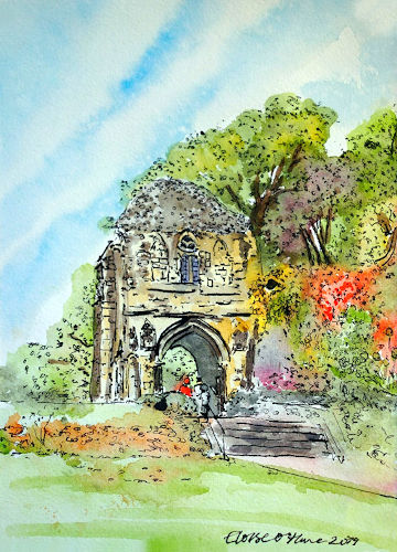 A watercolour painting of the ancient arch in Bishop's Garden in Norwich. (c) 2019 by Eloise O'Hare.