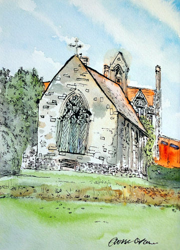 A watercolour painting of the old chapel in Bishop's Garden. (c) 2019 by Eloise O'Hare.