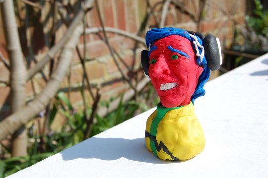 A clay portrait of Alan Partridge. (c) 2017, Eloise O'Hare.