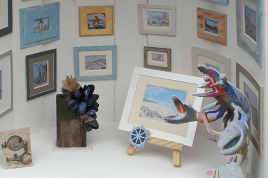 The downstair's gallery, with miniature paintings and my lobster. (c) 2019 by Eloise O'Hare.