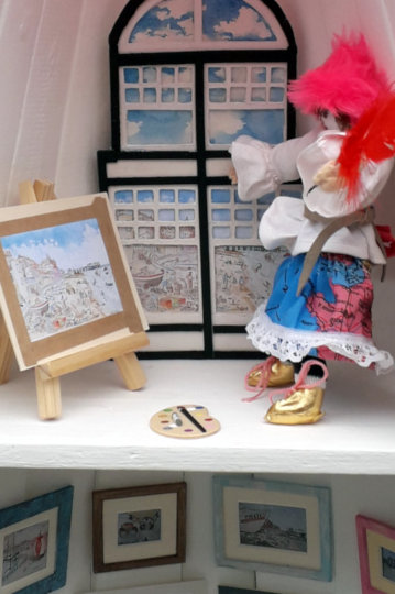 An Eloise doll painting upstairs in the gallery. (c) 2019 by Eloise O'Hare.