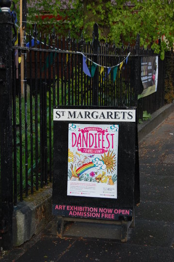 The poster for Dandifest 2017, outside St Margaret's Church of Art.