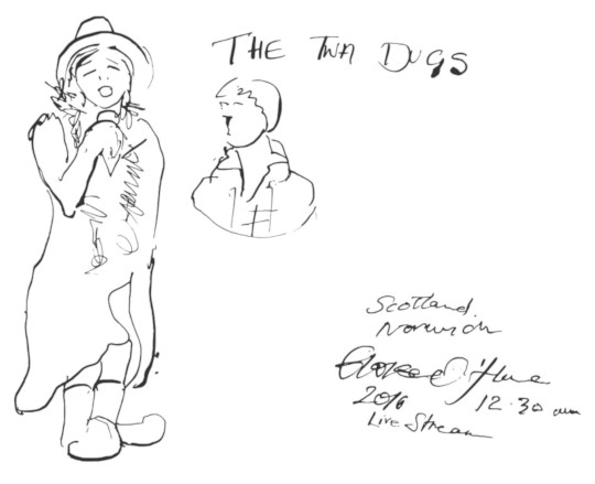 A list drawing of MC Karen at The Twa Dugs in Ayrshire. (c) 2016 by Eloise O'Hare.