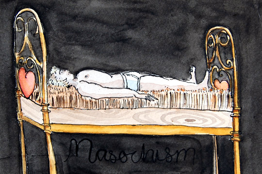 A drawing of a man lying on a bed of nails. (c) 2019 by Eloise O'Hare.
