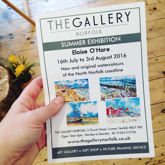 The flyer for my exhibition at The Gallery Norfolk.