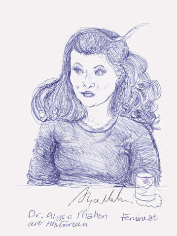 A drawing of Dr Alyce Mahon. (c) 2016 by Eloise O'Hare.