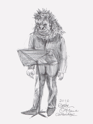A drawing of a Guerrilla Girl performing a lecture. (c) 2016 by Eloise O'Hare.