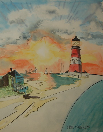 A watercolour painting of the Happisburgh Lighthouse. (c) 2016 by Eloise O'Hare.