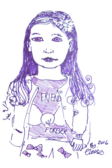 Felt pen portrait of a girl. (c) 2016 by Eloise O'Hare.