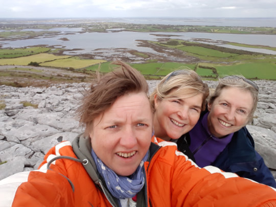 Me, Vera and Rebecca on top of a mountain near Kinvera.