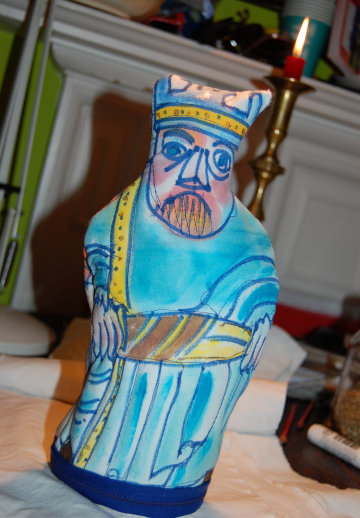 One of my Lewis chessmen (the white king) made out of fabric. (c) Eloise O'Hare.
