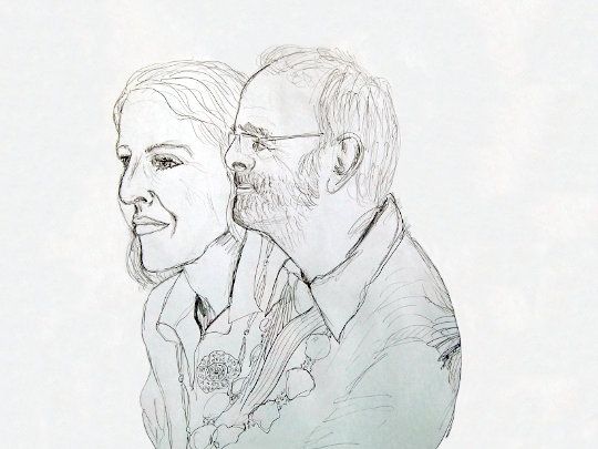 Dugald's drawing of the Mayor and Mayoress. (c) 2019 by Dugald Ferguson.
