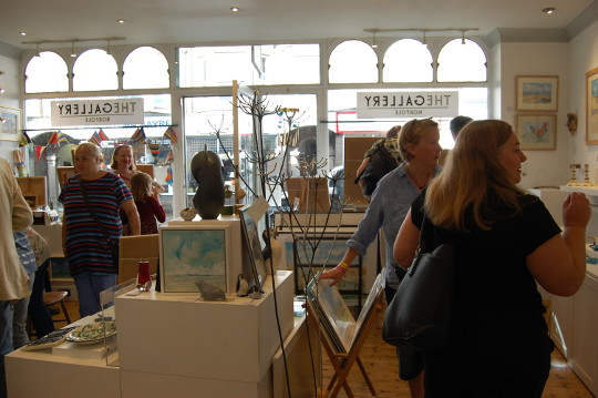 People viewing my art in The Gallery Norfolk.