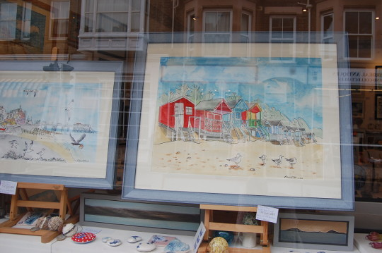 Two of my painting in the window of The Gallery Norfolk.