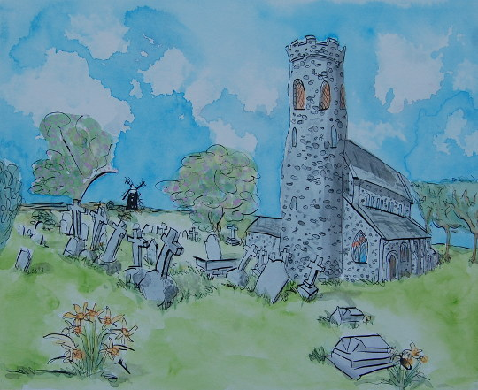 A watercolour and ink painting of the medieval St Mary's Church in Brancaster Staithe. (c) 2016 by Eloise O'Hare.