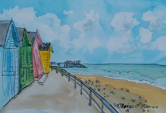 A watercolour and ink painting of four colourfull beach huts, with Cromer Pier in the background. (c) 2016 by Eloise O'Hare.