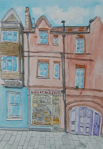 A watercolour and ink painting of Bond St Bakery in Cromer. (c) 2016 by Eloise O'Hare.