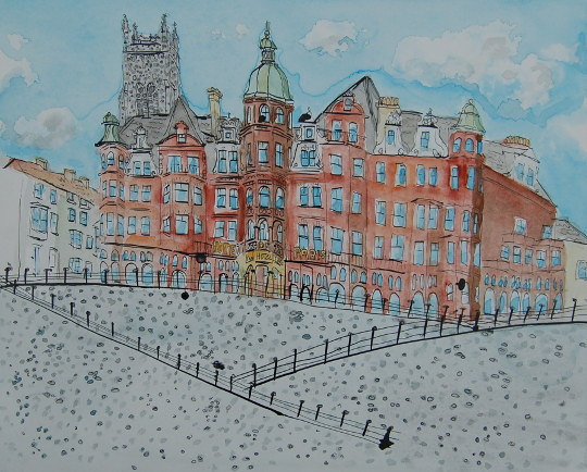 A watercolour and ink painting of Hotel de Paris in Cromer. (c) 2016 by Eloise O'Hare.