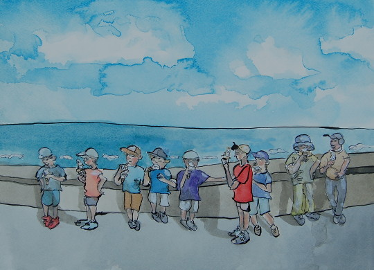 A watercolour and ink painting of nine boys eating ice creams on the promenade in Cromer. (c) 2016 by Eloise O'Hare.
