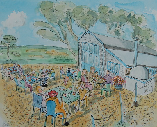 A painting of people having lunch outside Wiveton Hall Café. (c) 2016 by Eloise O'Hare.