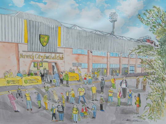My painting of the scene outside the Norwich City football ground. (c) 2017 by Eloise O'Hare.