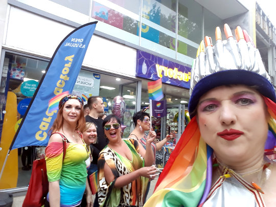 A selfie taken in the Pride parade. (c) 2019 by Eloise O'Hare.