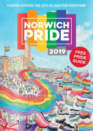 The cover of the 2019 Pride Guide, featuring my painting. (c) 2019 by Eloise O'Hare.