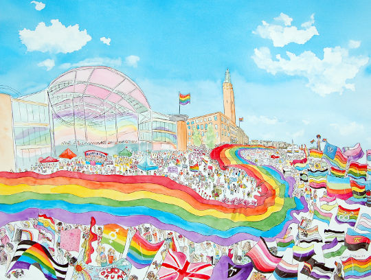 My watercolour painting of the Norwich Pride parade, featuring the Forum and lots of LGBT flags. (c) 2019 by Eloise O'Hare.