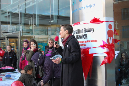 Di Cunningham holding a speech outside the Forum.