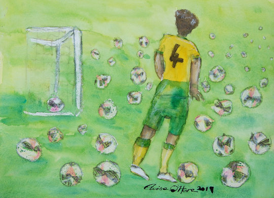 A watercolour painting of Ben Godfrey and lots of footballs. (c) 2019 by Eloise O'Hare.
