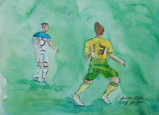 A watercolour painting of Emiliano Buendia and an Atalanta player. (c) 2019 by Eloise O'Hare.
