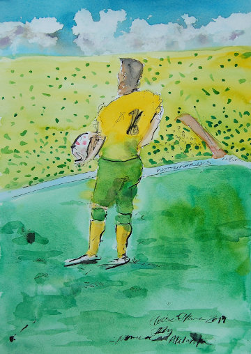 A watercolour painting of Philip Heise about to throw a ball. (c) 2019 by Eloise O'Hare.