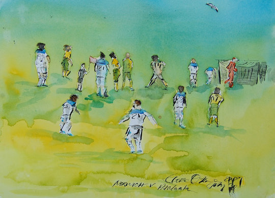 A watercolour painting of football players. (c) 2019 by Eloise O'Hare.