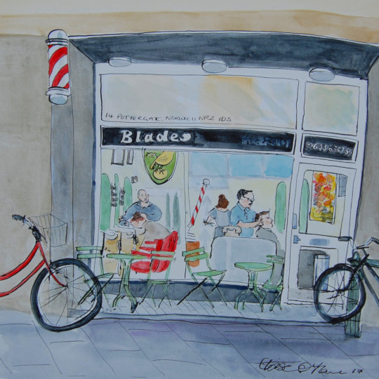 A watercolour and ink pen painting of Blades barber shop on Pottergate, Norwich. (c) Eloise O'Hare.