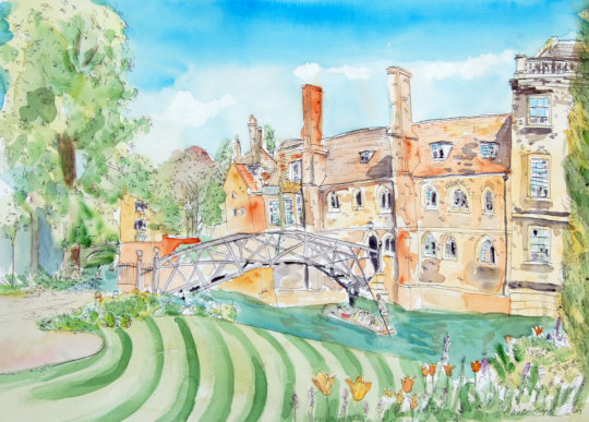 A watercolour and ink pen painting of the Mathematical Bridge in Cambridge. (c) 2019 by Eloise O'Hare.