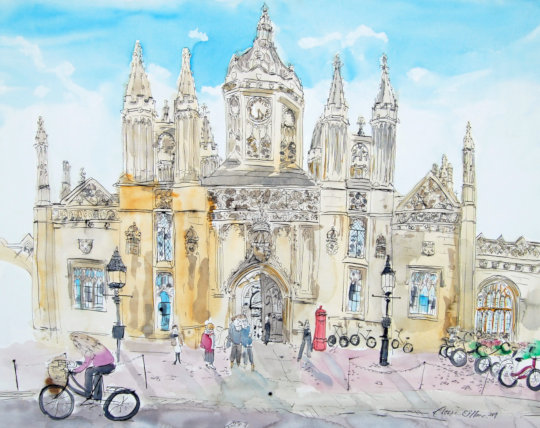 The watercolour and ink pen painting of King's College in Cambridge. (c) 2019 by Eloise O'Hare.
