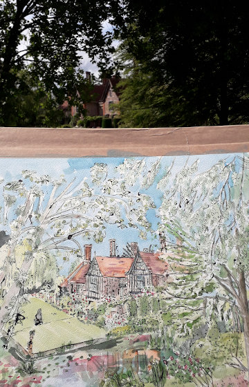 Part of my Elsing Hall watercolour painting, with the building in the background. (c) 2019 by Eloise O'Hare.