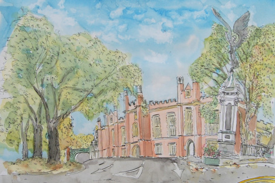 A painting of the Boer War Memorial, Norwich. (c) 2017 by Eloise O'Hare.