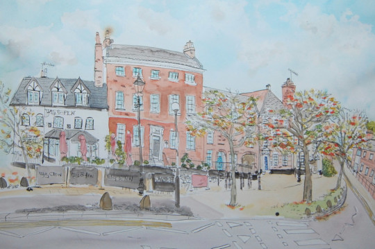 A watercolour painting of Cotman House, Norwich. (c) 2017 by Eloise O'Hare.