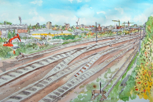 The winning watercolour and ink pen painting of railways tracks near Norwich station. (c) 2017 by Eloise O'Hare.