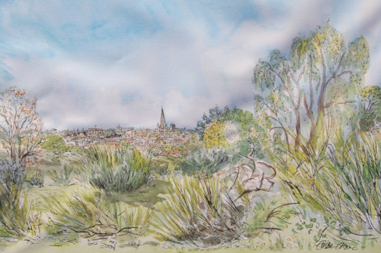 A watercolour painting of Norwich, painted on Mousehold Heath. (c) 2017 by Eloise O'Hare.