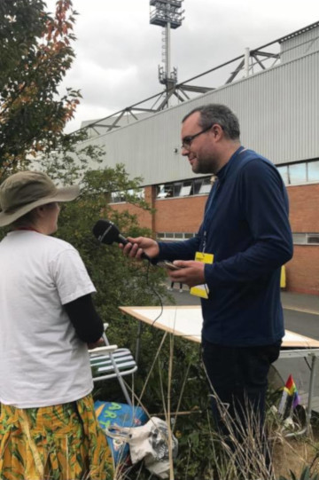 A photo of me being interviewed by BBC Radio Norfolk.