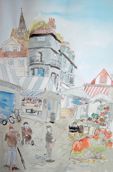 A painting of Peter's Market, including the Sir Garnet pub. (c) 2017 by Eloise O'Hare.