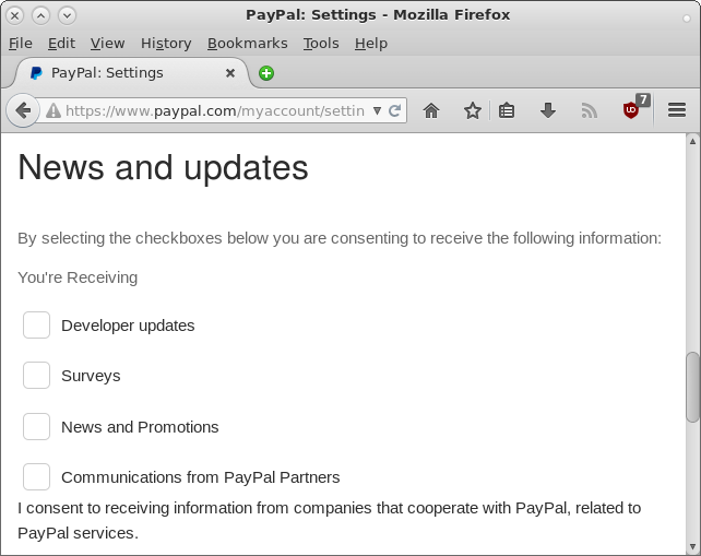 A screenshot of the Paypal settings. They want to send you updates, surveys, news, promotions and communications from Paypal partners.