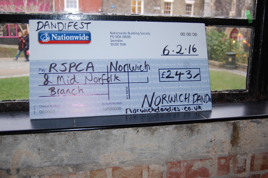 A large cheque for the RSPCA.