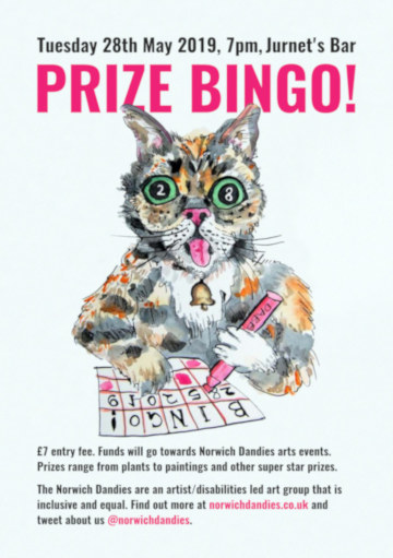 The poster for the Norwich Dandies Prize Bingo, featuring a cat playing bingo. (c) 2019 by Eloise O'Hare.
