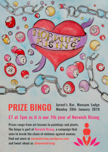 The poster for the Norwich Rising Prize Bingo.