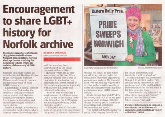 The story about the LGBT+ history archive in the EDP.