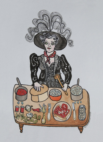 Postcard of a Cockney Queen making baked beans. (c) Eloise O'Hare, 2008.