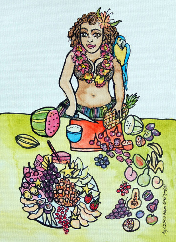 Postcard of a Hawaiian girl preparing a fruit platter. (c) Eloise O'Hare, 2008.